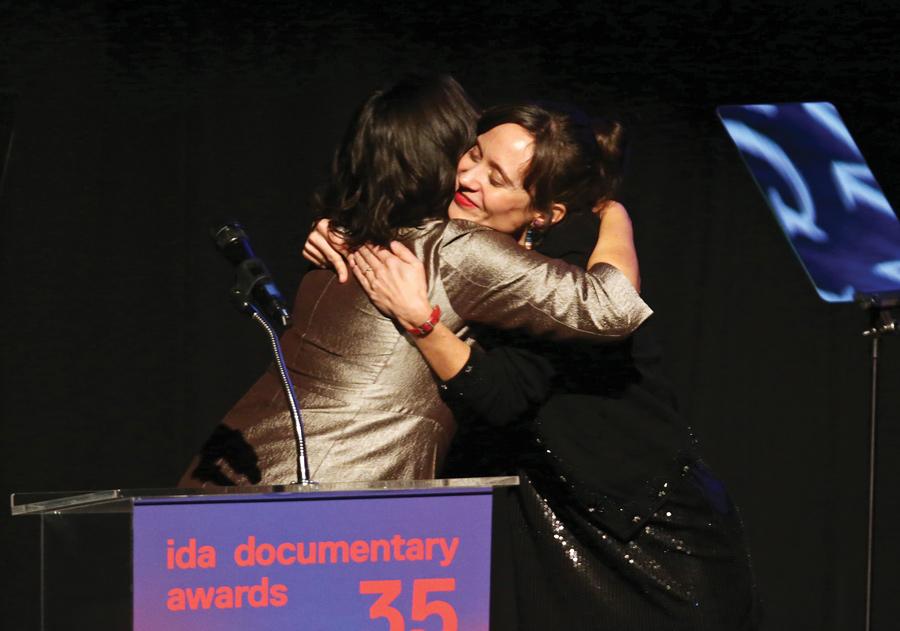 Rachel Lears accepting the Emerging Documentary Filmmaker Award