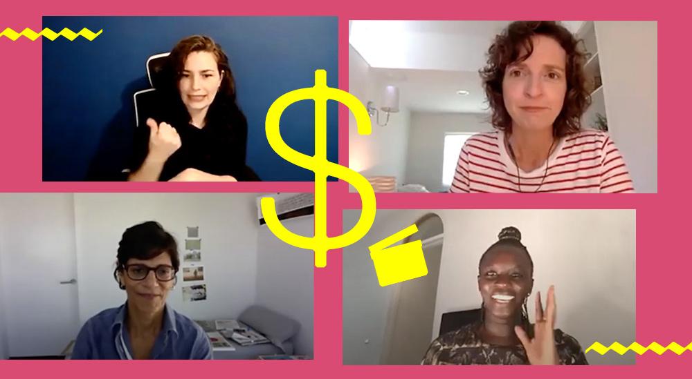 A yellow dollar sign overlayed on screenshots of IDA's Grant Writing Workshop with Dana Merwin, Zippy Kimundu, Meena Nanji and ASL Interpreter Mara Bassani-Santamaria, against a dark pink background.