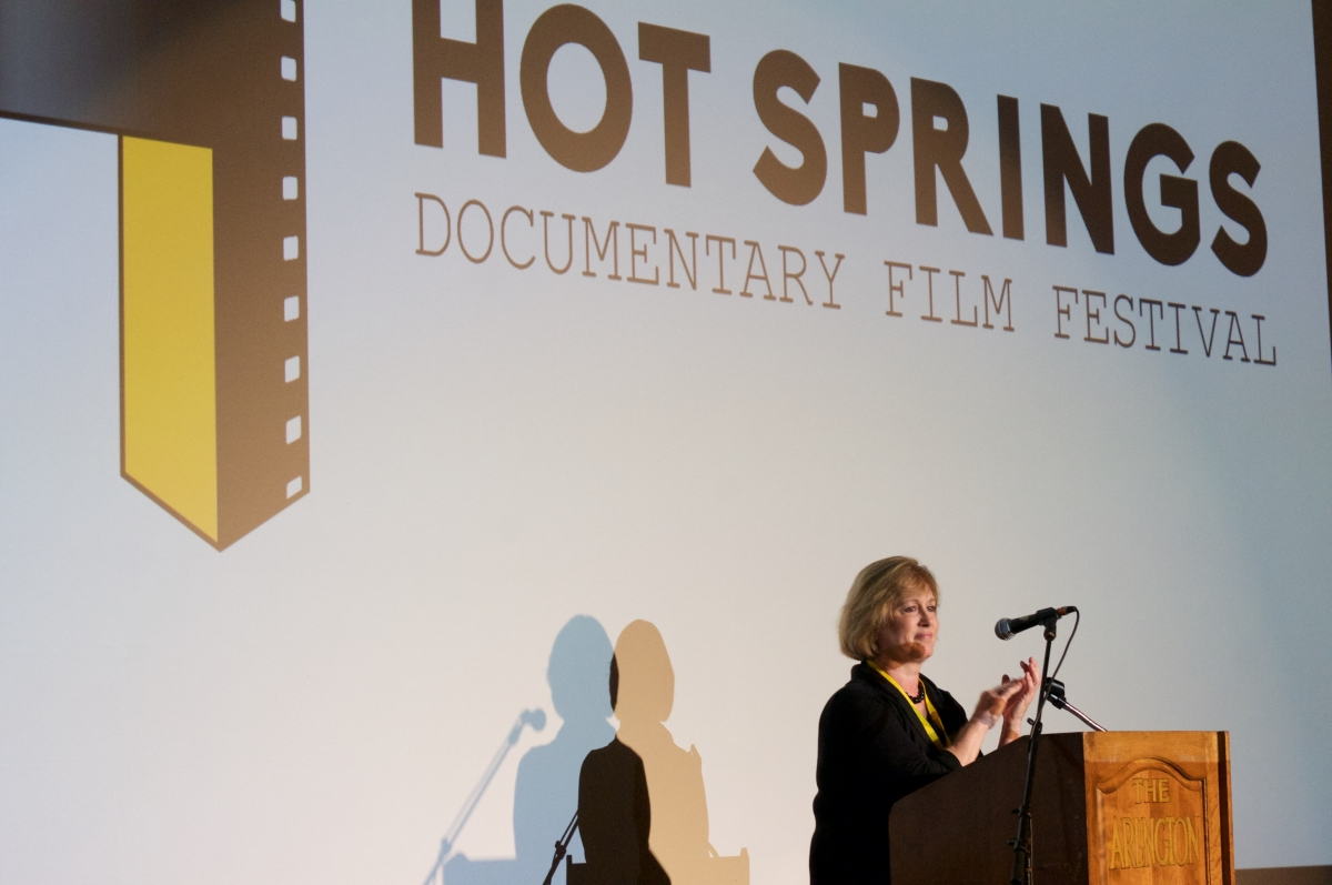 Hot Springs Documentary Film Festival Executive Director Courtney Pledger addressing the audience at the 2015 festival. Photo: Zoie Clift