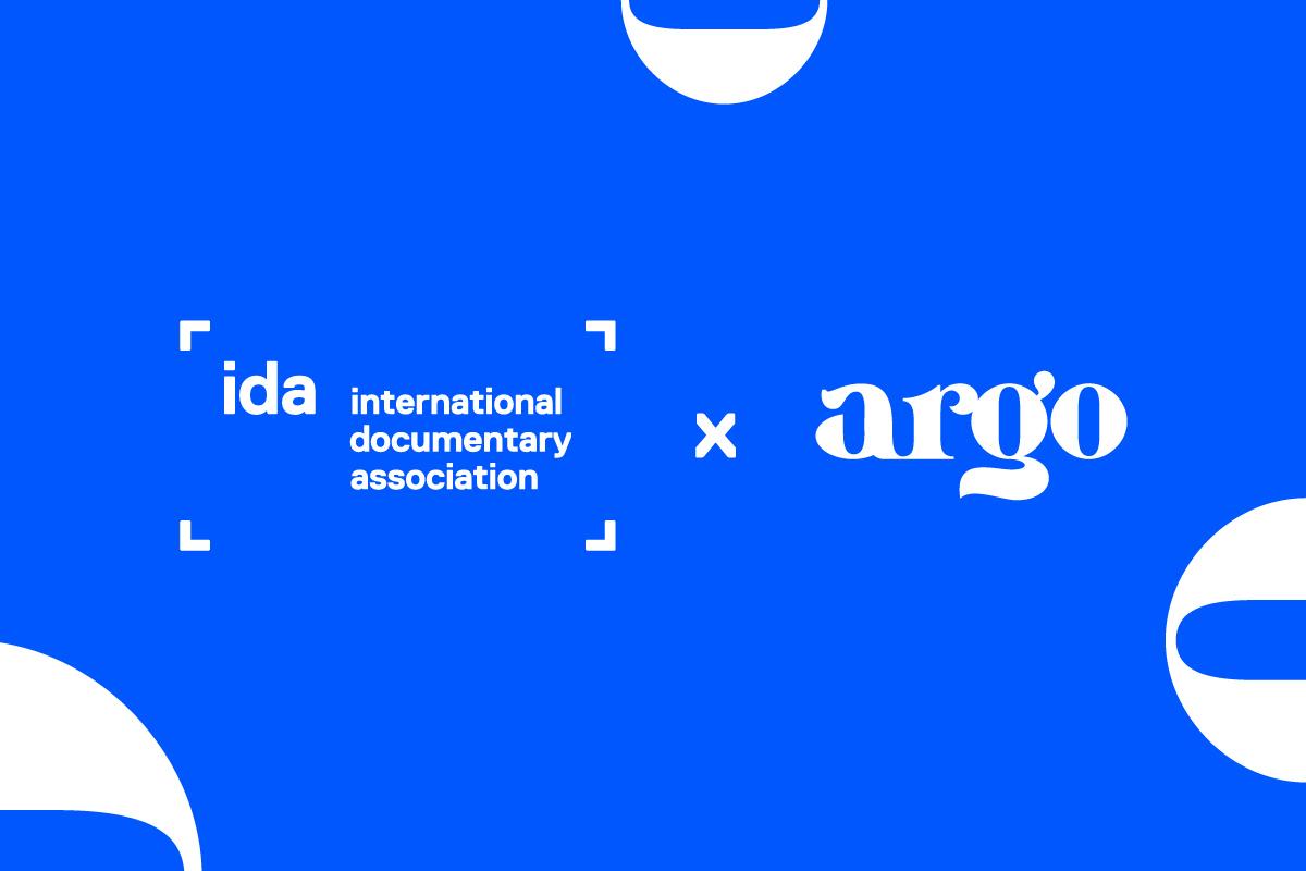 Logos of International Documentary Association (IDA) and argo against a bright blue background