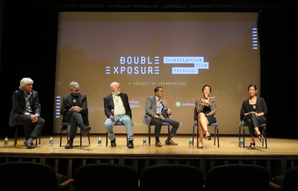 "From the ""Abacus: Small Enough to Jail"" panel at Double Exposure 2016. Left to right: Producer Mark Mitten, Director Steve James, journalists Dave Lindorff and Ti-Hua Chang, and film participants Chanterelle and Vera Sung. Photo: Jay Berg"
