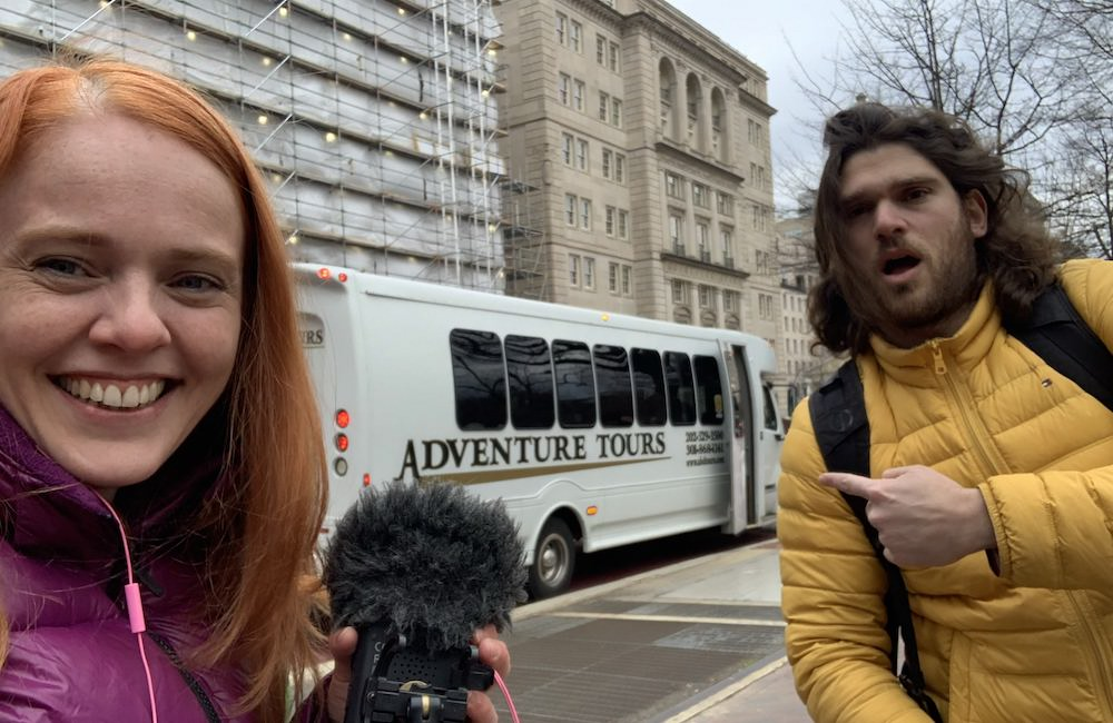 Maya Zinshtein and Abraham (Abie) Troen (Director of Photography and Producer of 'Til Kingdom Come) on location filming 'Til Kingdom Come.