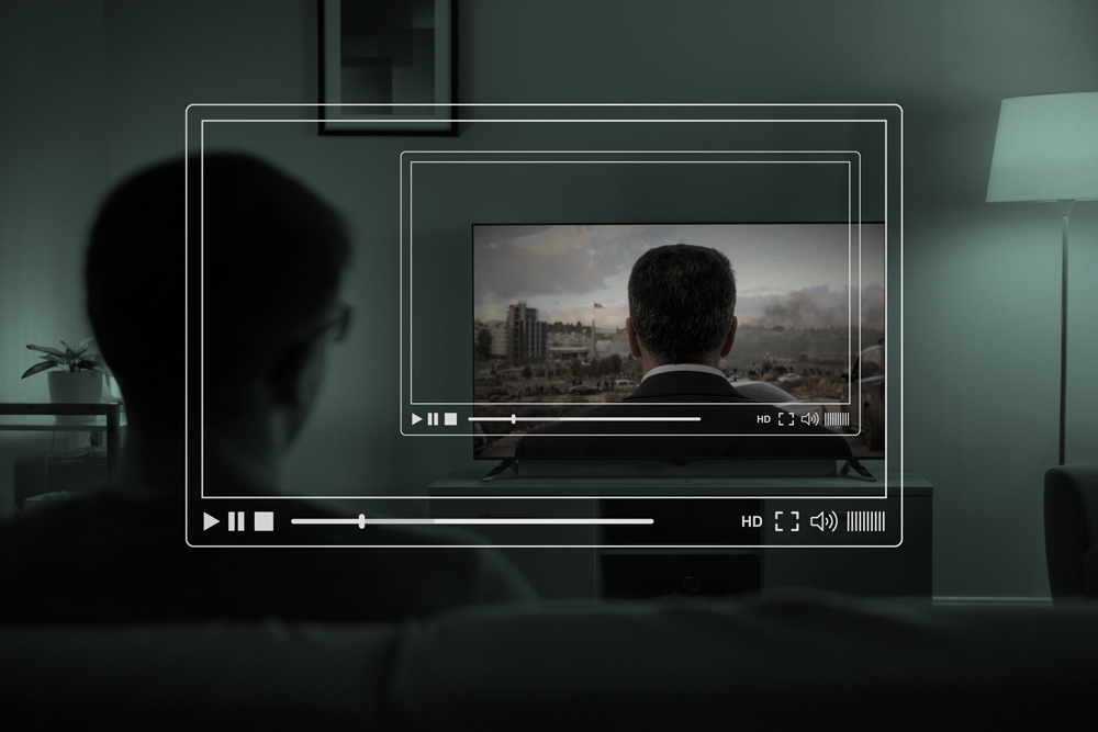 Image on TV screen is from David Osit's 'Mayor.'