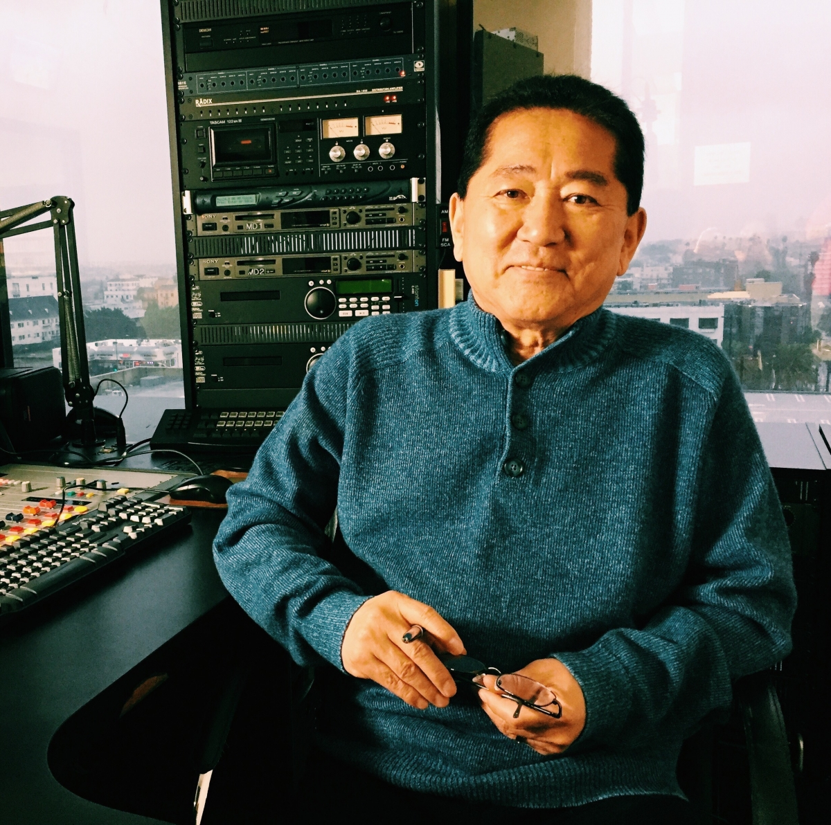 Richard Choi, a radio host who turns his station into a live hotline for immigrants. From Grace Lee's 'K-TOWN '92.' Courtesy of CAAM