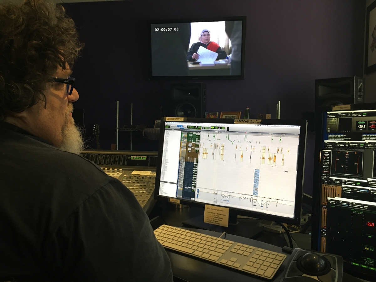 James LeBrecht uses two monitors with his ProTools rig, one for the edit window and the other to display the meters and plug ins that he uses. Photo by Erika Cohn.
