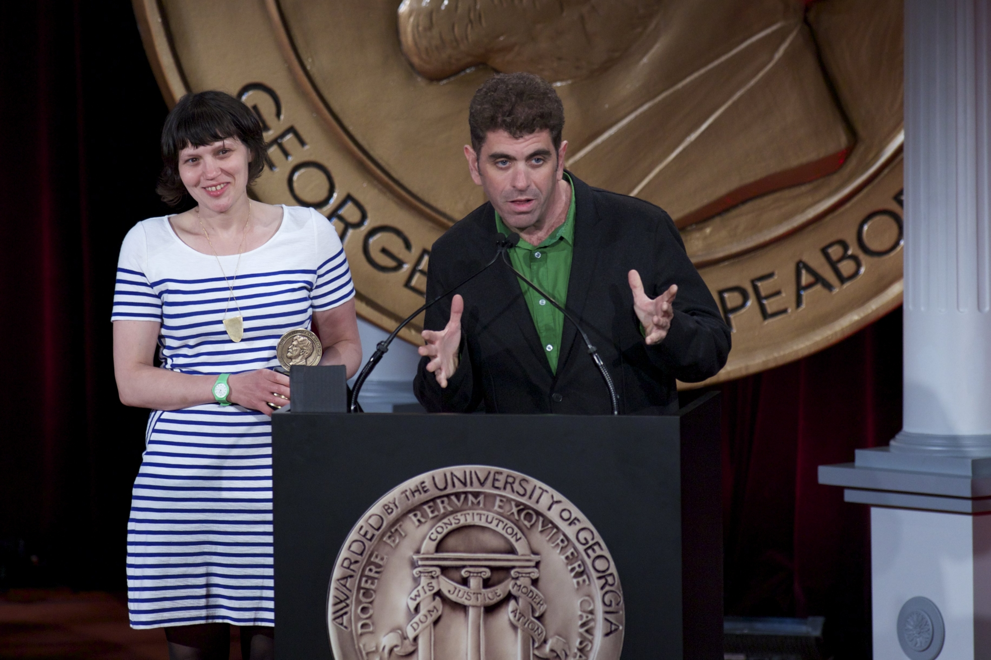 "Director Eugene Jarecki and Producer Melinda Shopsin accept the Peabody Award for ""The House I Live In."" CC BY 2.0 Peabody Awards"