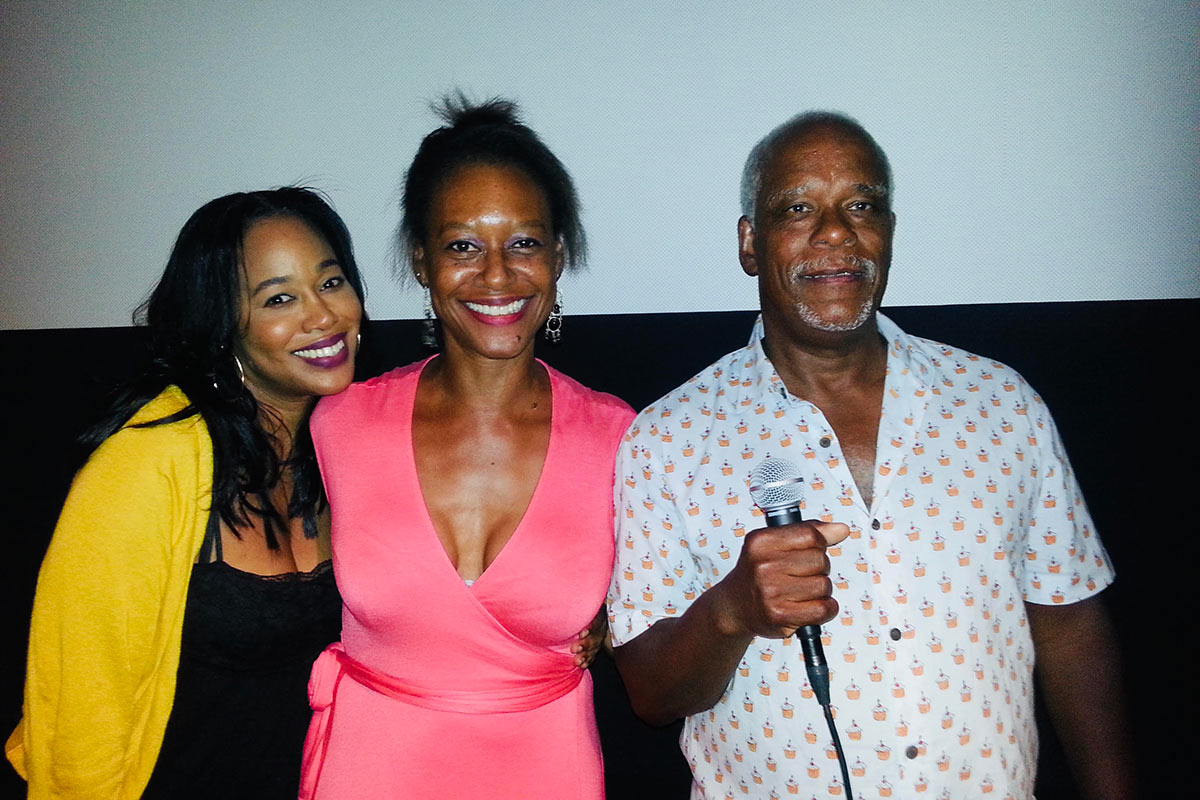 """Black Documentary Collective (""""BDC"""") hosts the premiere of 'The Black Panthers: Vanguard of the Revolution' at Film Forum, New York City, September 2, 2015. Pictured (L-R) BDC Co-Chair and filmmaker Sabrina Schmidt Gordon, Producer Lauren Grant, Director Stanley Nelson."""