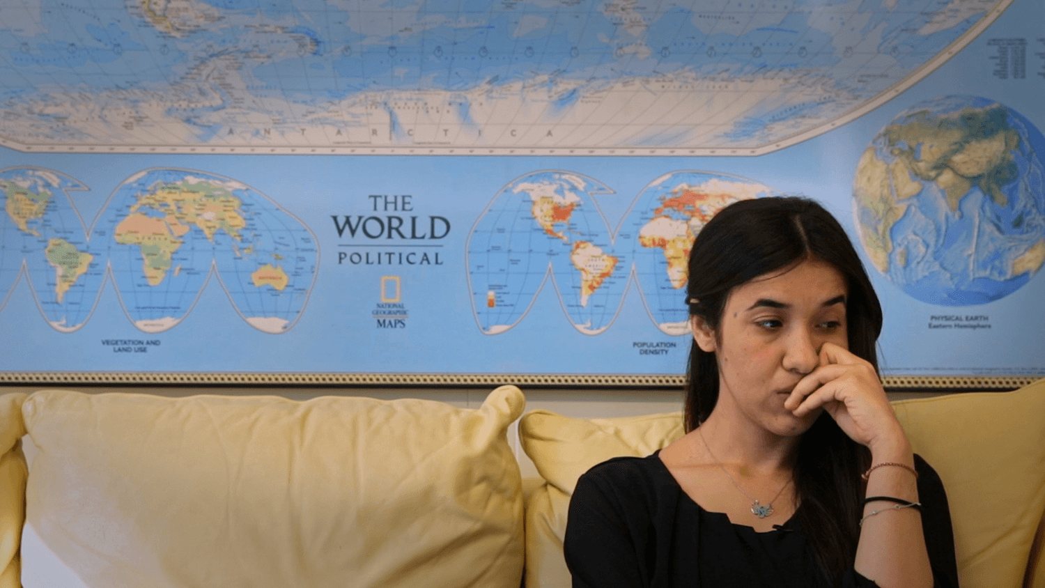 Nadia Murad sits in the UNODC office, preparing for an upcoming speech at the UN.