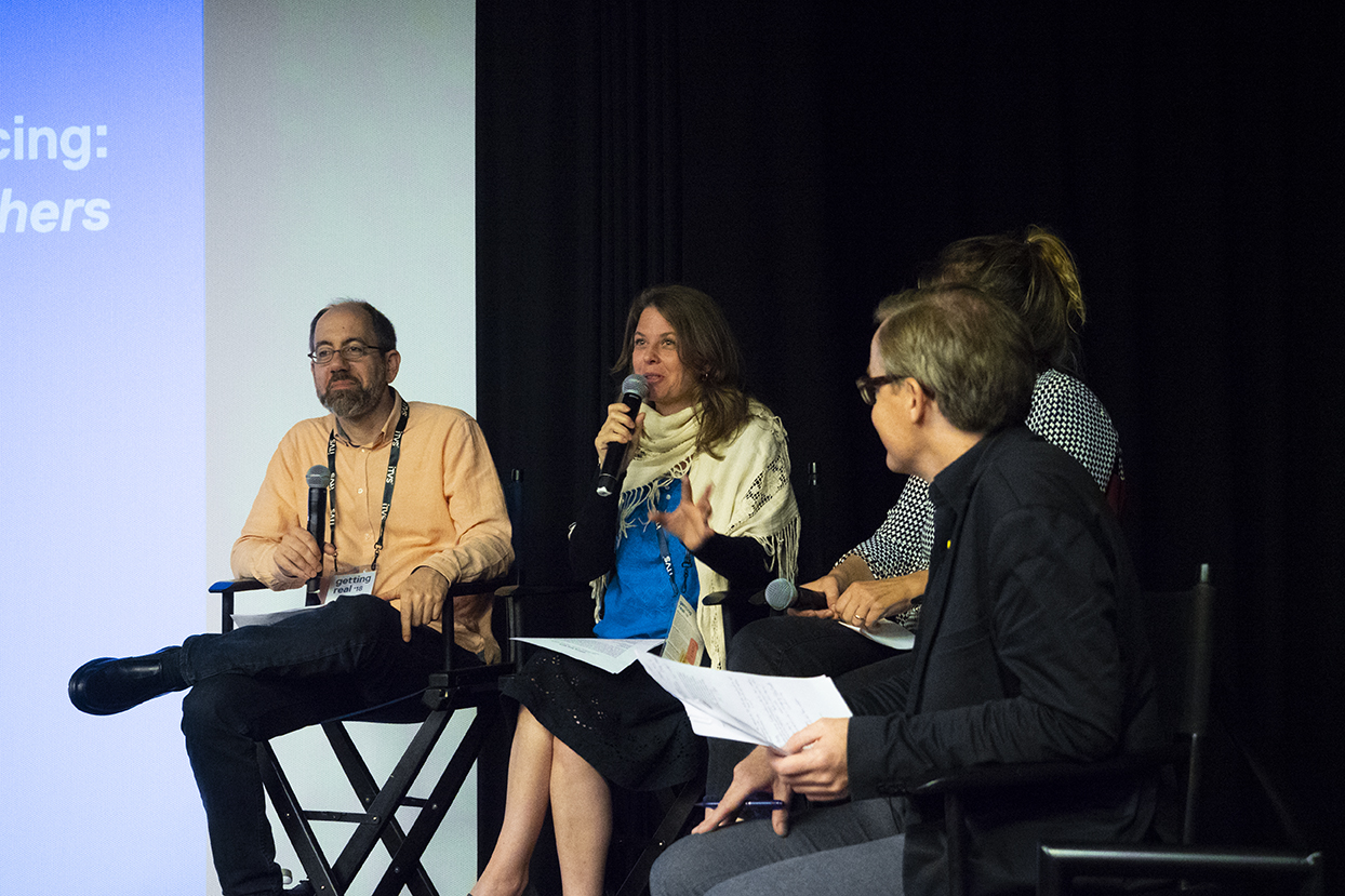 "International Co-Producing: ""The Silence of Others"" Left to right: Director/producer Robert Bahar, director/producer Almudena Carracedo, editor Kim Roberts, moderator Ove Rishoj Jensen. Photo by Susan Yin."