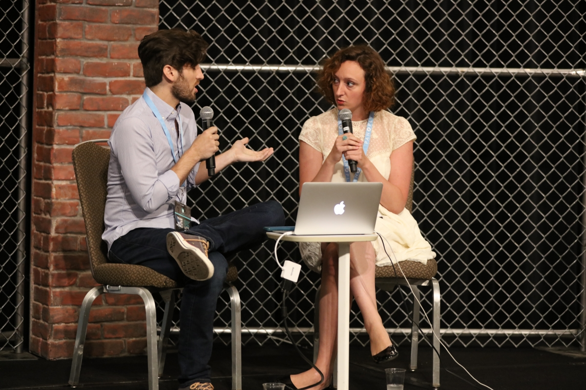 Podcast producers Brendan Baker (left) and Kaitlin Prest in a Technical Track session at Podcast Movement 2016. Courtesy of PodcastMovement.com.