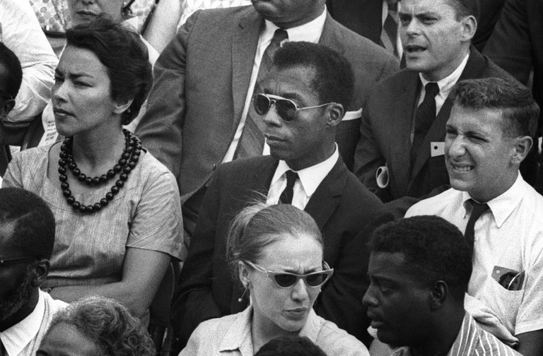 James Baldwin (center), as seen in 'I Am Not Your Negro.' Credit: Dan Budnik/Magnolia Pictures.