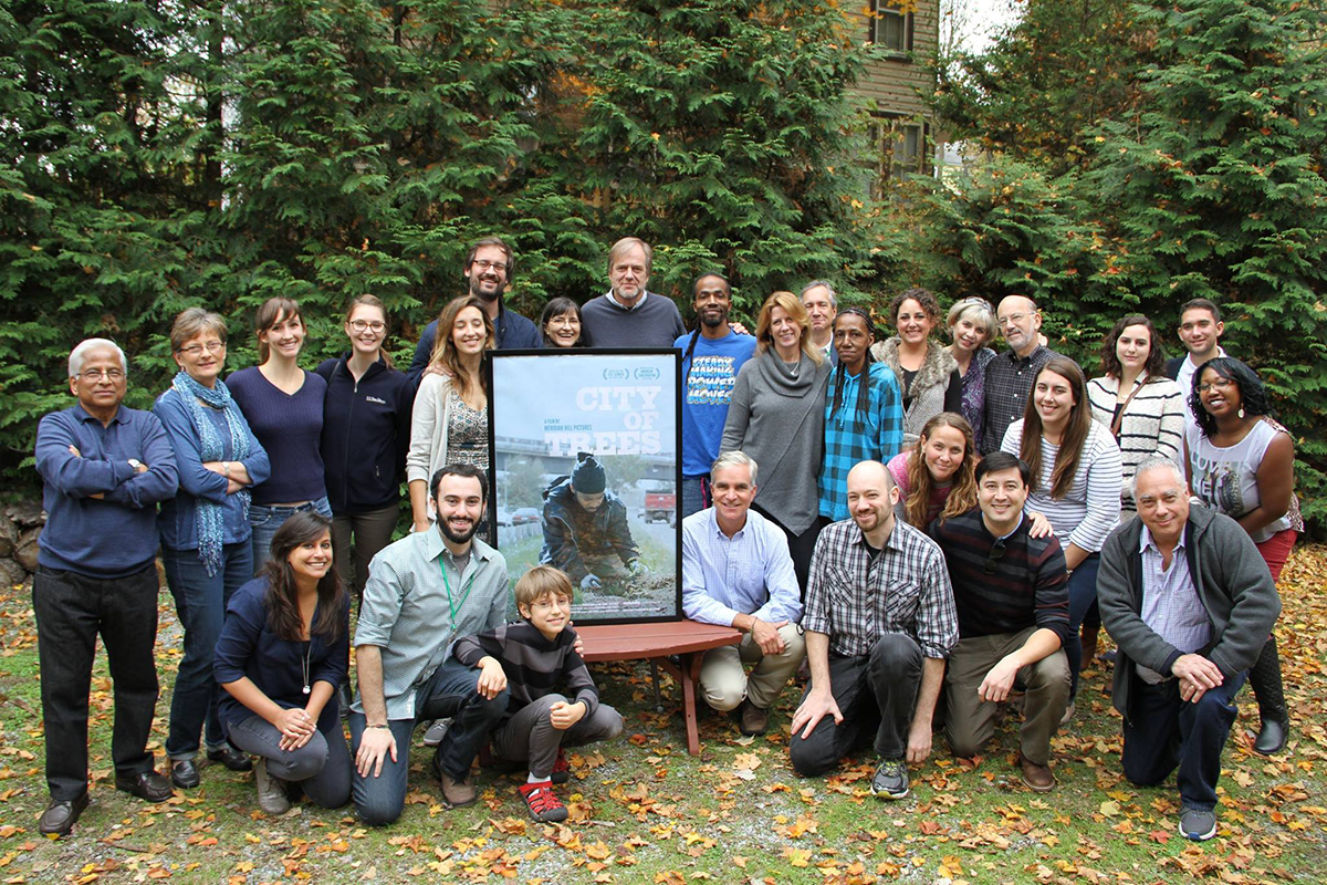 The team behind Lance and Brandon Kramer's <em>City of Trees</em>. Courtesy of Meridian Hill Pictures.