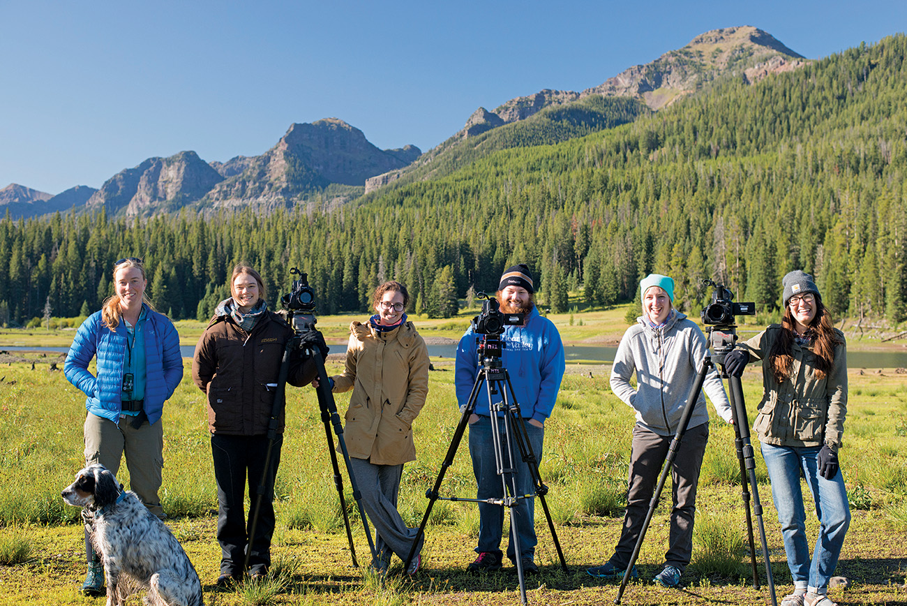 From Montana State's MFA in Science and Natural History Filmmaking, (left to right) instructor Kathy Kasic, Tara Smithee, Samantha Batse, Hans Glasmann, Abigail Huetter, Mary Maragaret Smith on a class camera exercise at Hyalite Reservoir. Photo: Elizabeth Wilk