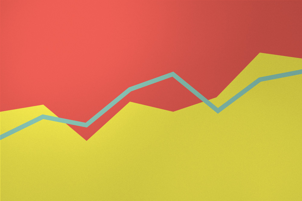 Minimalist graphic of an aqua line graph above yellow stacked graph against salmon pink background.