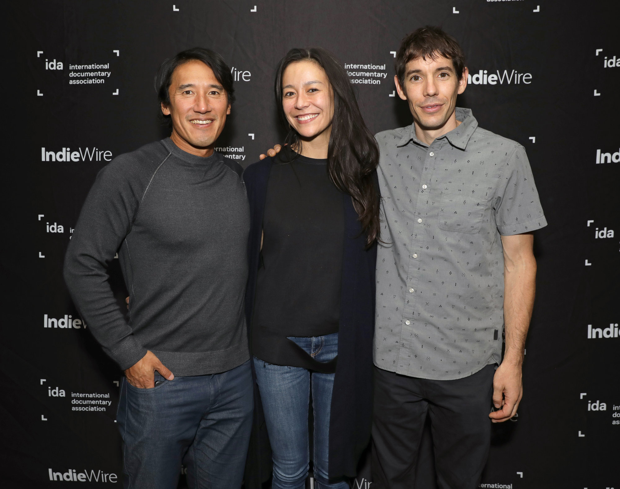 Jimmy Chin, Chai Vasarhelyi and Alex Honnold at IDA Documentary Screening Series.