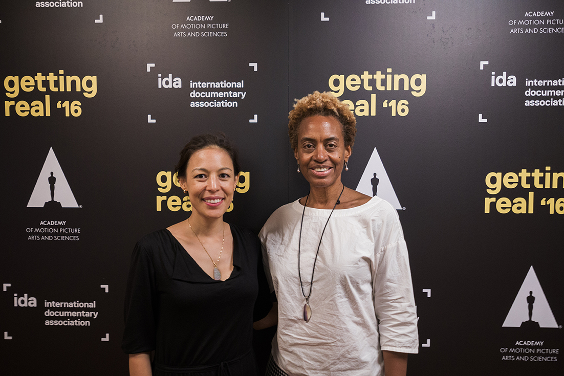 Marcia Smith with filmmaker Sonia Kennebeck (National Bird) at Getting Real '16. Photo: Susan Yin