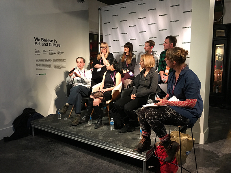 Participants in the short form panel, presented by Kickstarter, at the 2015 Sundance Film Festival: Bottom row (left to right): Charlie Phillips (The Guardian); Nanfu Wang (filmmaker); Kathleen Lingo (New York Times Op-Docs); Ingrid Kopp (Senior Consultant, Tribeca Film Institute). Top row, left to right: Charlotte Cook (Field of Vision); Elaine Sheldon (filmmaker); Donal Mosher (filmmaker); Mike Palmieri (filmmaker).