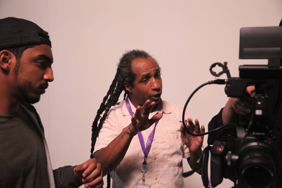 Filmmaker Marco Williams teaching production, pre-COVID-19, at Northwestern in Doha, Qatar. Courtesy of Marco Williiams
