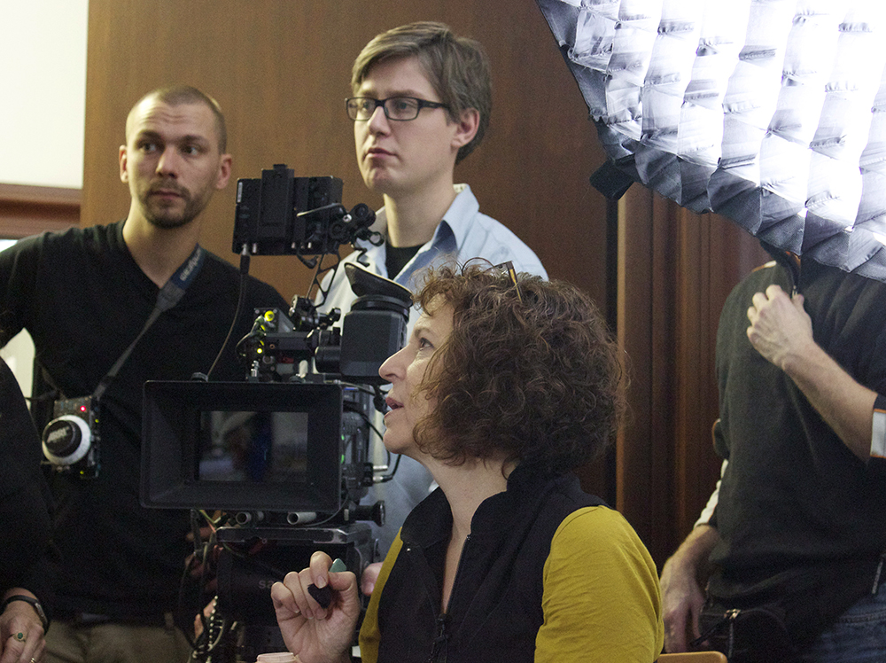 Director Marcie Begleiter on set in Hamburg at the Hamburger Kunsthalle, Nov. 2013 Production Photo.