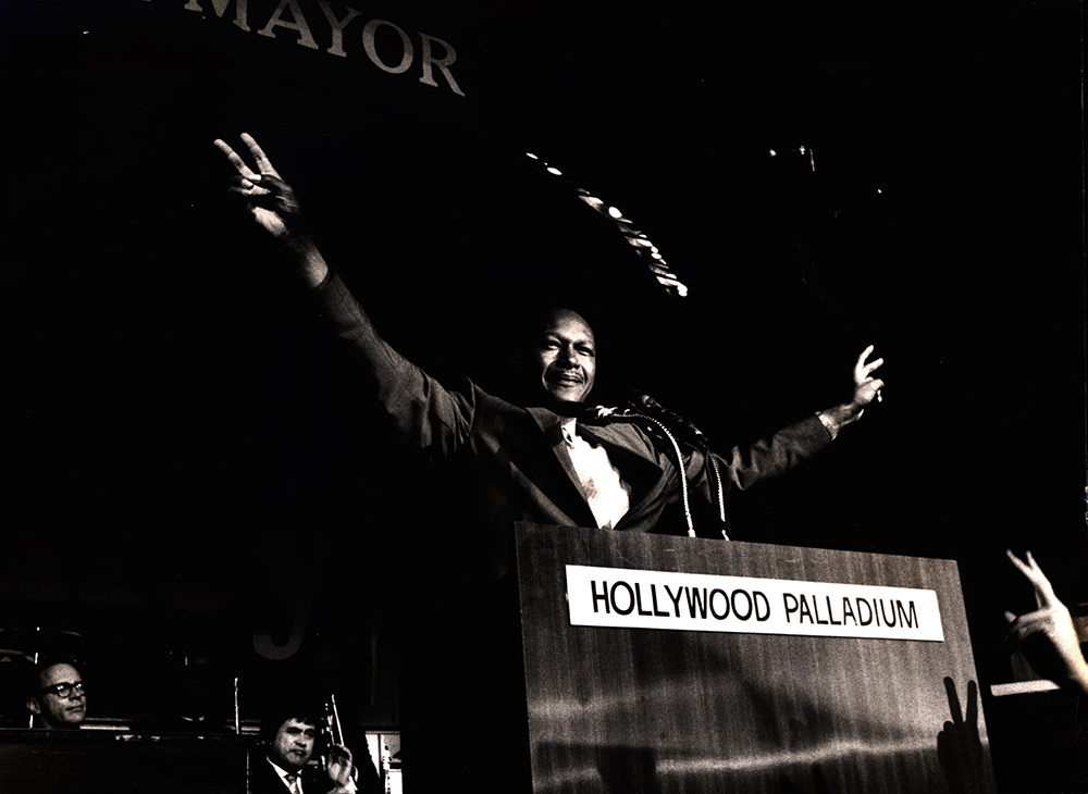 LA City Councilman Tom Bradley on election night of his 1969 mayoral bid. From Goldfarb and Sotomayor's 'Bridging the Divide: Tom Bradley and the Politics of Race.' Courtesy of California African American Cultural Museum