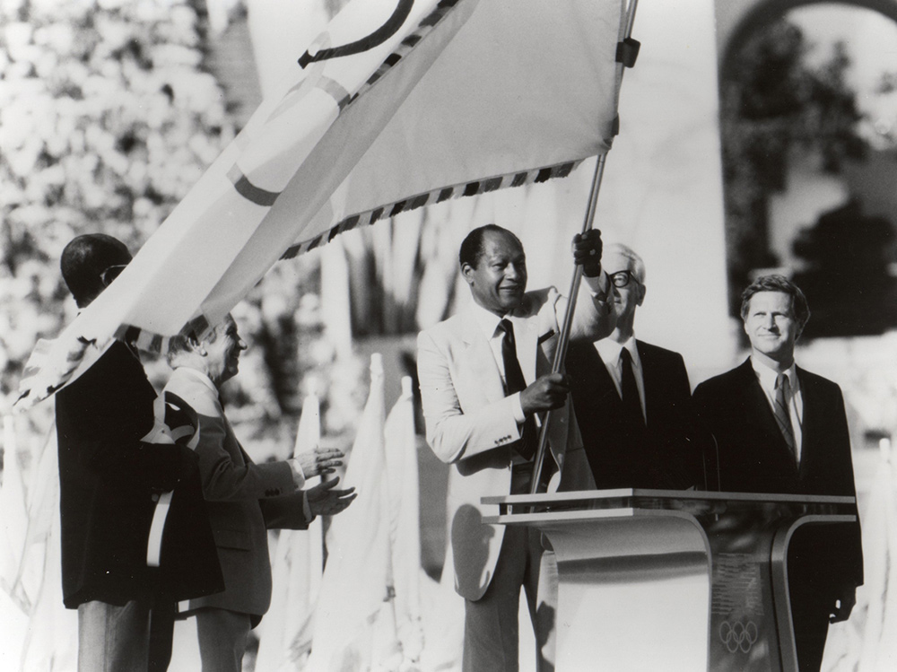 LA Mayor Tom Bradley at the 1984 Olympics. Courtesy of Tom Bradley Legacy Foundation at UCLA.