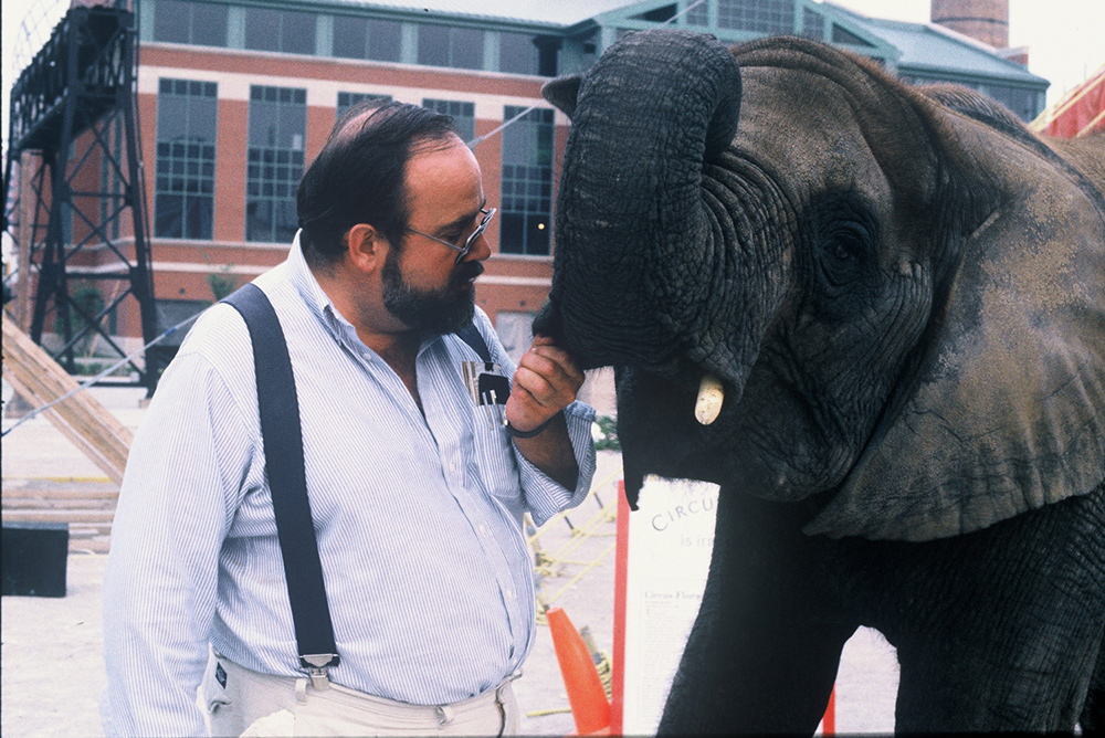 David Balding and Flora the elephant, subjects of Lisa Leeman's 'One Lucky Elephant'