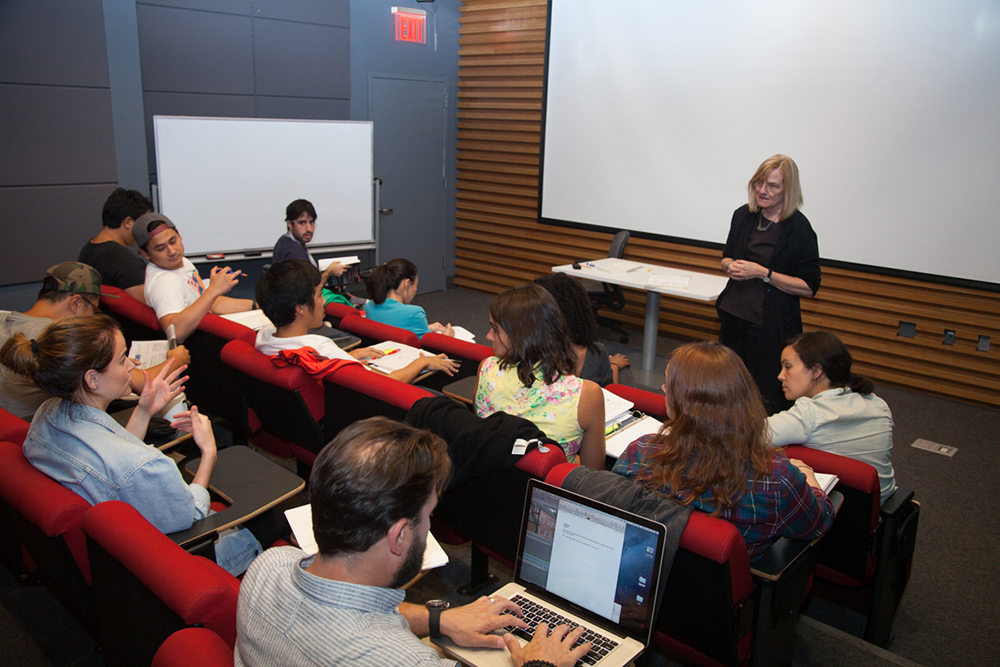 Filmmaker Deborah Dickson teaching a directing class. Photo: Martin Mendizabal