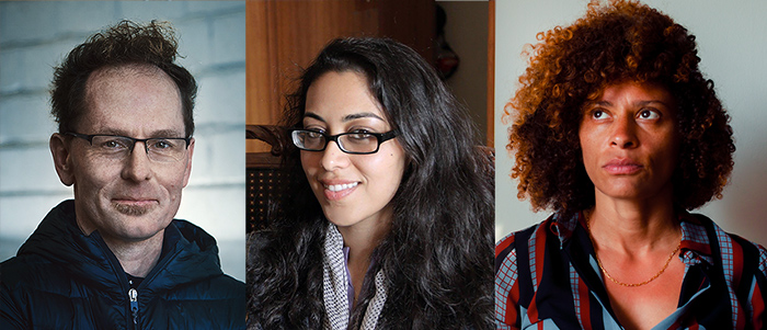 Left to right: Skye Fitzgerald is a middle-aged white male wearing glasses and a blue windbreaker; and Smriti Mundhra is an Indian-American woman with long black hair, wearing glasses and a scarf, Nadia Hallgren is a Black and Puerto Rican woman with curly brown hair, wearing a patterned blouse.