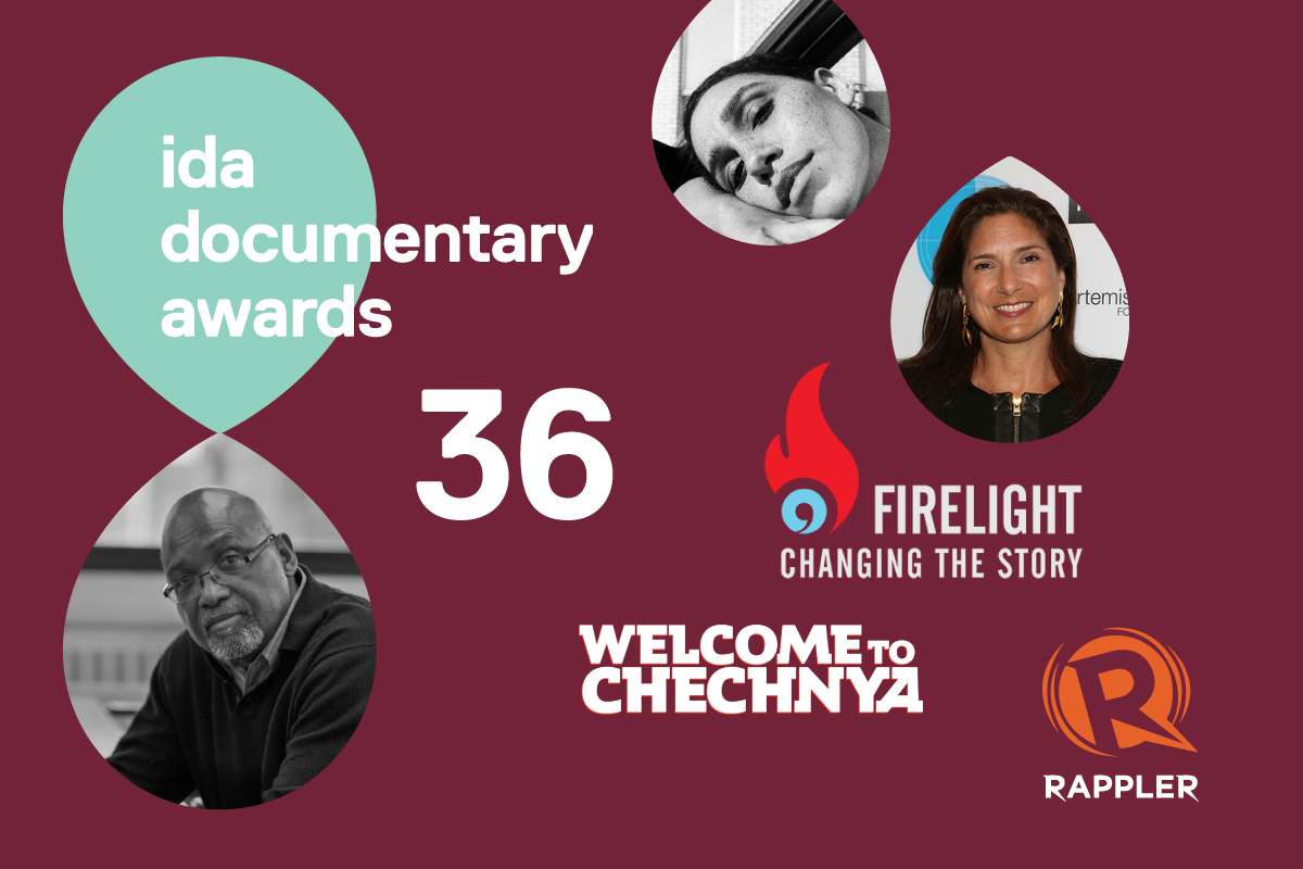 36th Annual IDA Documentary Awards logo; below, Sam Pollard; Right side of image from top to bottom: Garrett Bradley, Regina Scully, Firelight Media logo, Welcome to Chechnya film title treatment; and Rappler logo.