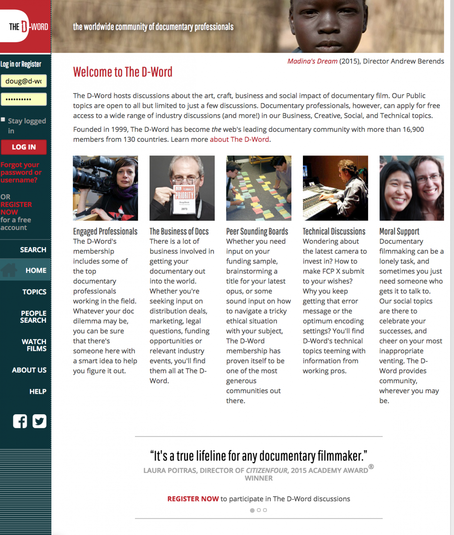 The Home Page for The D-Word. Courtesy of Doug Block