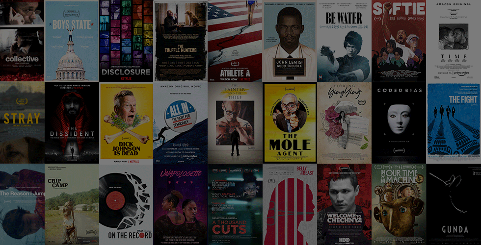 Collage of film posters screening at the IDA Documentary Screening Series