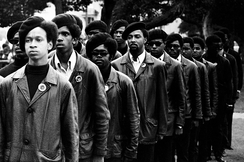 Panthers on parade at Free Huey rally in Defermery Park (named by the Panther Bobby Hutton Park) in West Oakland,  July 28, 1968. From Stanley Nelson's 'The Black Panthers: Vanguard of the Revolution.' Photo courtesy of Stephen Shames.