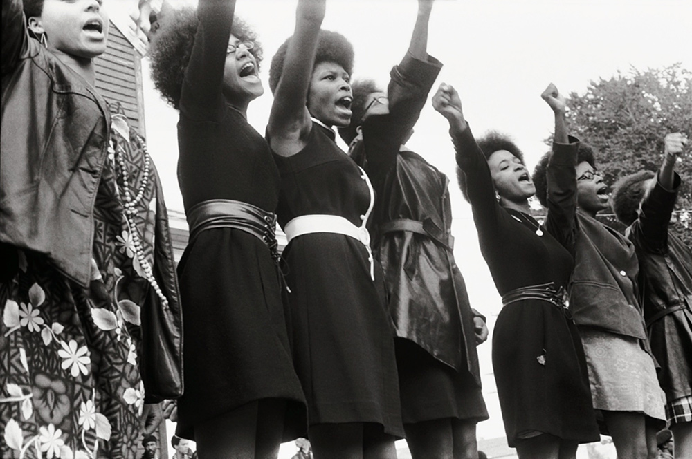Black Panthers from Sacramento, Free Huey Rally, Bobby Hutton Memorial Park in Oakland, CA, USA, 1969. From Stanley Nelson's 'The Black Panthers: Vanguard of the Revolution.' Photo courtesy of Pirkle Jones and Ruth-Marion Baruch.