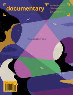 The Winter 2021 cover of the magazine features illustration by Sawsan Chalabi. 3 individuals are beaming lights at each other from where their faces would be. There are three birds and some clouds in the background.