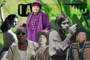 """A collage of Shirley Clarke, Agnès Varda, Cheryl Dunye, Alice Guy-Blaché, Barbara Kopple and Madeline Anderson against a background of a close up leaf, with the words """"I Am Somebody"""" faded into the background."""
