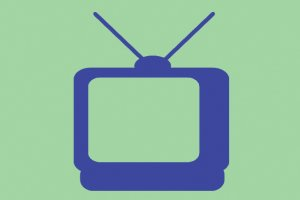 a blue clipart of TV against a green background