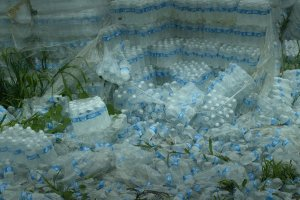 """Hundreds of undistributed plastic bottles of water lying on the ground in Puerto Rico. Image from """"Landfall,"""" directed by Cecilia Aldarondo. Photo by Pablo Alvarez-Mesa. Courtesy of POV"""