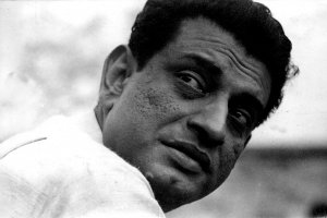 Side angle black and white portrait of filmmaker Satyajit Ray. Courtesy Criterion Channel.