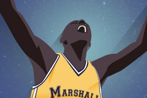 Graphic of a basketball player with both arms up triumphant