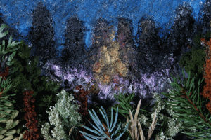 Mixed-media sculptural and painted representation of nature in the night