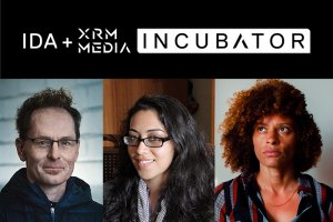 IDA + XRM Media INCUBATOR. Below: headshots of Skye Fitzgerald, Smriti Mundhra and Nadia Hallgren