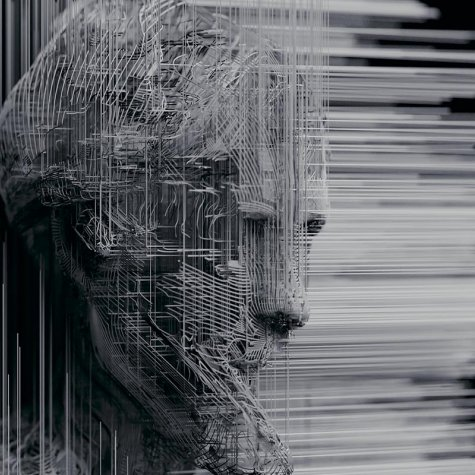 An abstract rendering of an artificial intelligence entity amidst a gray composite of horizontal lines. From Tonje Hessen Schei's 'iHuman,' produced by UpNorth Film.