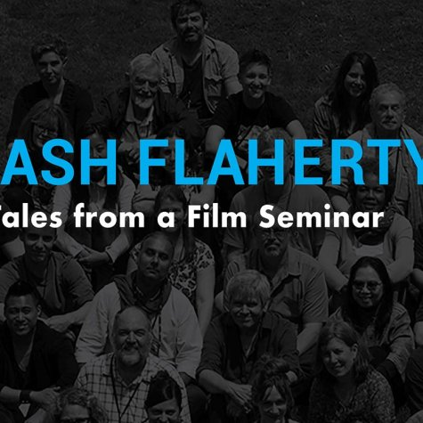 Black and white cover image of the book 'Flash Flaherty,' showing the Seminar's participants smiling at the camera. Courtesy of Indiana University Press.