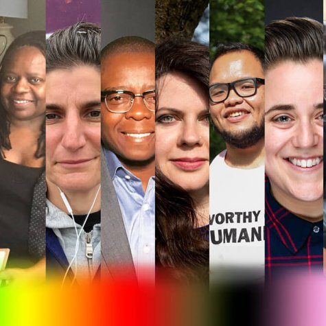 A collage of members of the LGBTQ roundtable with a rainbow gradient on the bottom. From left to right: PJ Raval, Kim Yutani, Yvonne Welbon, Jess Search, Yance Ford, Lindsey Dryden, Set Hernandez Rongkilyo, Viridiana Lieberman, and Sam Feder. Courtesy of those listed