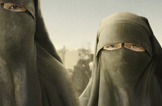 Two animated women in black niqabs.