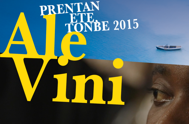 Film Poster for Ale Vini. A diagonal line cuts the poster, above there is a small boat on the blue ocean, below there is a close up of a dark-skinned individual staring at something in the distance.