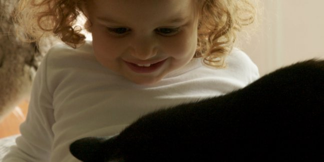 a black cat plays on the lap of a White female toddler.