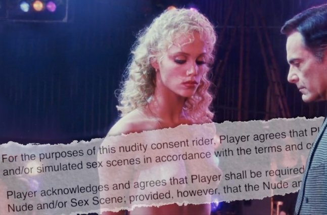 young actress stands topless as a male gazes at her chest; snippet of sex-scene contract lays over image