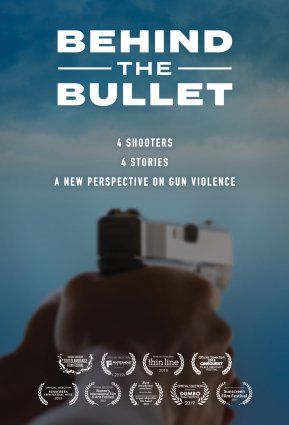 Poster of the project with a gun in the background.