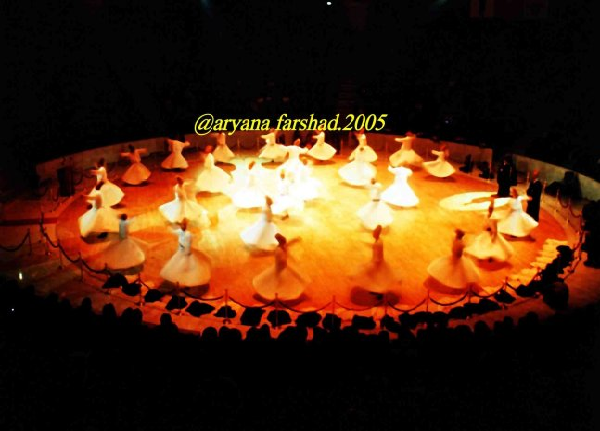 Persian mystics are dancing in a circular formation.